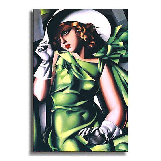 Jeune Fille Vert by de Lempicka Stretched Canvas