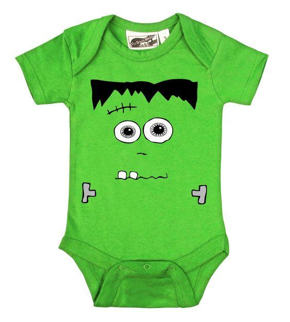 """Frankenstein's Monster Lime Green One Piece (3-6 Months). It's Frankenstein's Monster! This bright green one piece makes for a super-easy Halloween costume, or just a unique outfit!. Comfortable & durable 100 % cotton. Lap shoulders for easy dressing. Machine washable. Great baby shower or holiday gift!. Please note our garments may be labelled with the largest size of the applicable range (i.e. 3-6 months """"6"""", 6-12 months """"12"""", etc.)."""