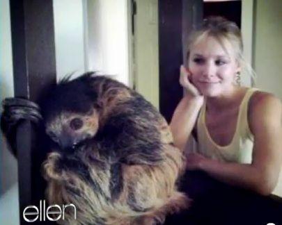 I love Kristen Bell's sloth freak out.