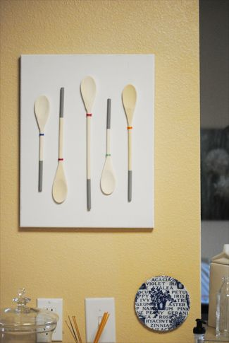 @Lindsey Magno @Kathryn Monti - I want to make this at craft night!!   {From My Grey Desk Blog: DIY kitchen art}