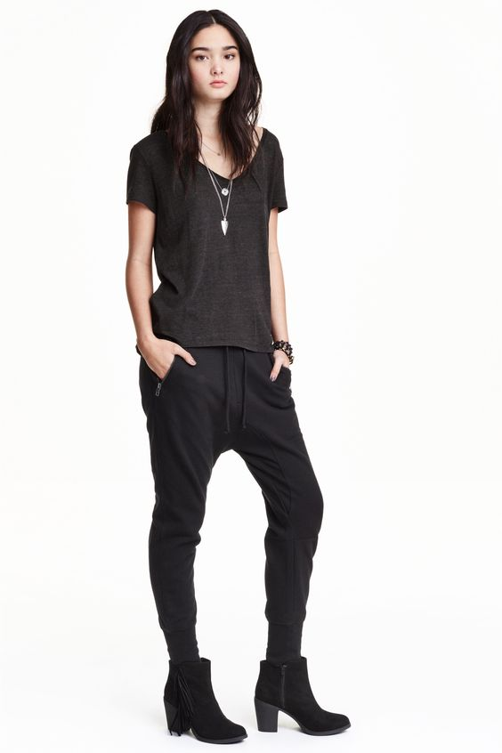 Sweatpants: Sweatpants with a low crotch, tapered legs, an elasticated drawstring waist, side pockets with a zip, one back pocket and ribbed hems.