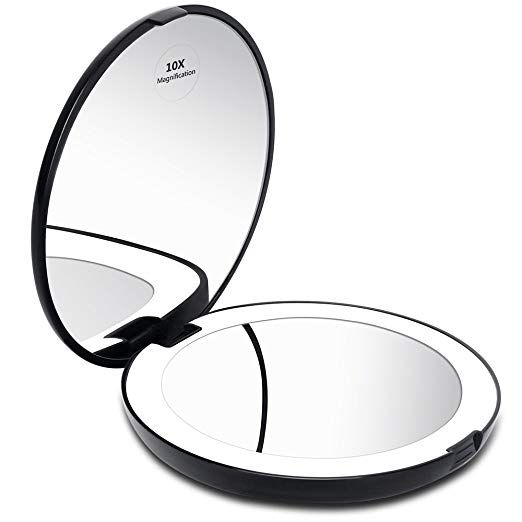 Kedsum Led Lighted Compact Travel Mirror 1x 10x Magnification Lighted Makeup Mirror Hand Held Folding Makeup Mirror With Lights Portable Mirror Travel Mirror