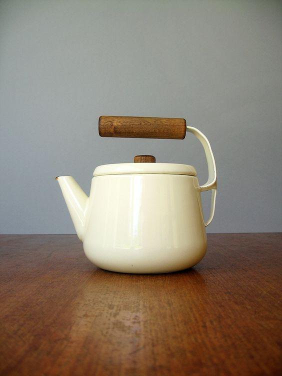 Vintage Scandinavian Style Enamel Teapot