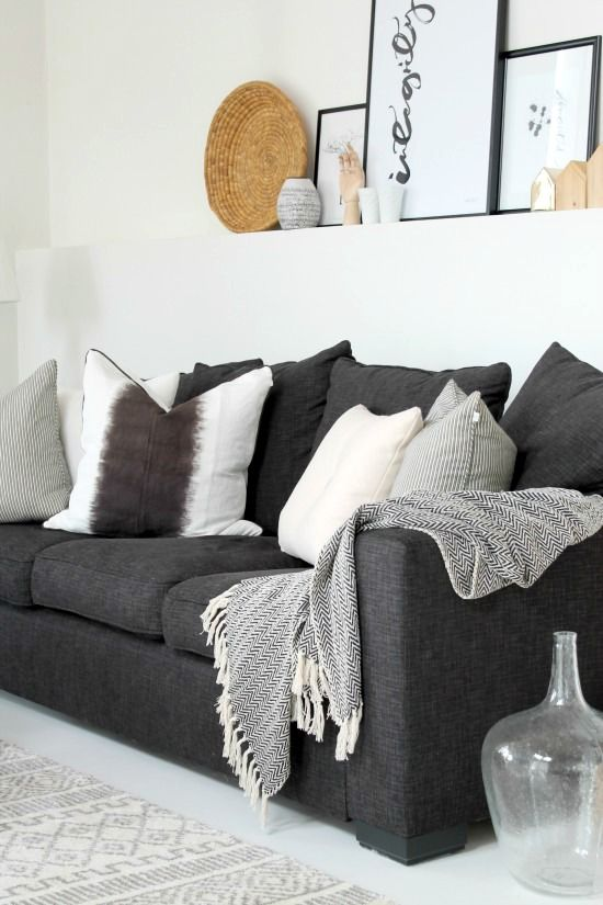 Nice Living Room Idea With Dark Grey Couch And Light Accents.