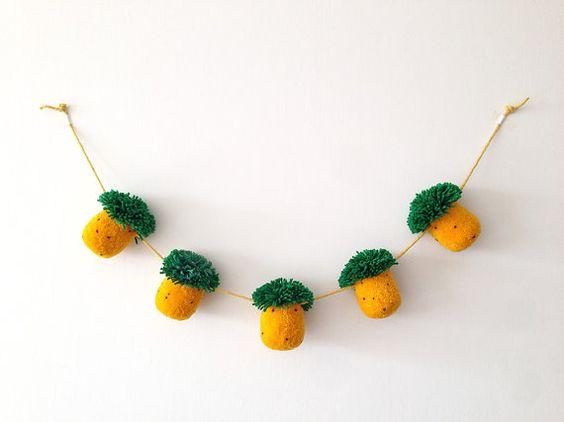 Pineapple Pom Pom Garland  5 Pom Poms by greenlaundry on Etsy, $24.00