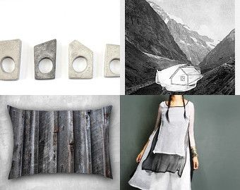 between black a white by 3buu on Etsy featuring concrete jewelry - geometric minimalist concrete ring by shooohsJewelry