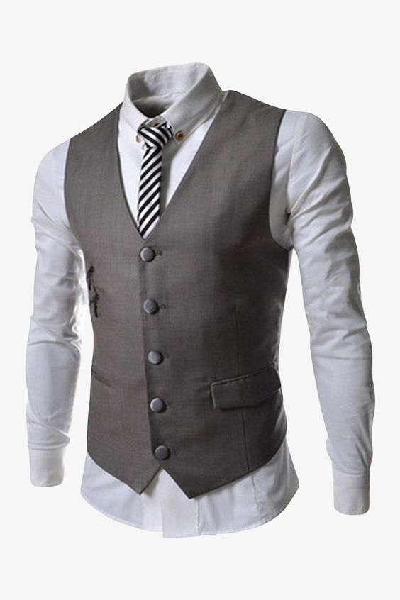 5-Button Vest In Light Gray