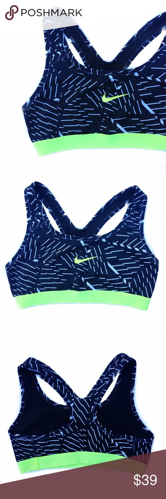 • Nike • Electric Green Sports Bra Super dope black bra with white detail and electric green contrast! Offers👇🏻 Nike Intimates & Sleepwear Bras