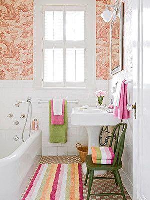 BHG: colorful bathroom: Bathroom Design, Girl Bathroom, Small Bathroom, Bathroom Idea, Green Bathroom, Design Idea, Pink Bathroom