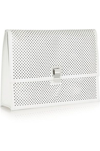 #breestylespeaks Proenza Schouler | The Lunch Bag large perforated leather clutch | NET-A-PORTER.COM