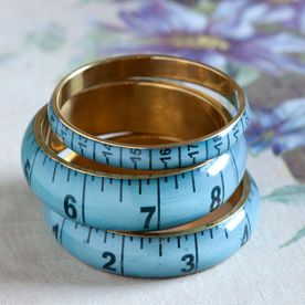 These quirky vintage dressmaker's tape-measure bangles are available in petrol blue, light petrol and mustard. Just the thing for crafters and dressmakers…