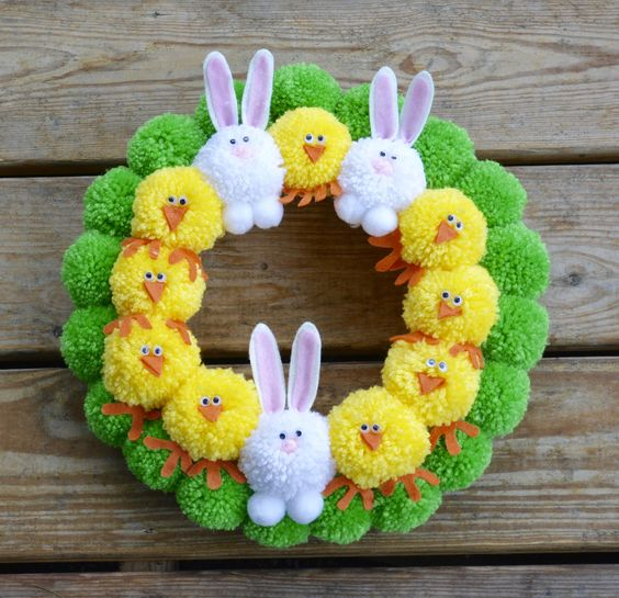 Easter Pom Pom Wreath with Bunnies and Chicks Bright Easter | Etsy