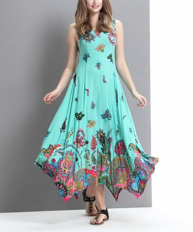 Reborn Collection Aqua Floral Paisley Handkerchief Maxi Dress ...