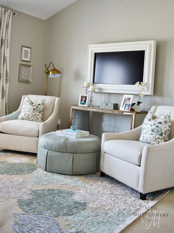 Tv frames mounted tv and love this on pinterest for Master bedroom sitting area furniture