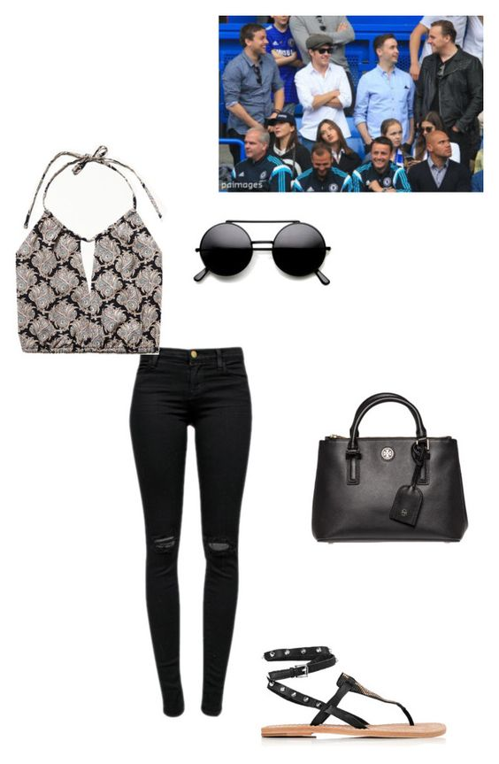 """""""Me and Niall at the Chelsea FC vs Sunderland match in London"""" by harryismainbae ❤ liked on Polyvore featuring moda, J Brand, Free People, Ash y Tory Burch"""