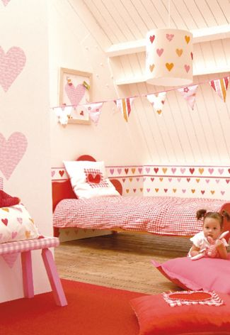 Hartjes kinderkamer met roze en rood hearts kidsroom with red and pink kinderkamers - Roze kinderkamer ...
