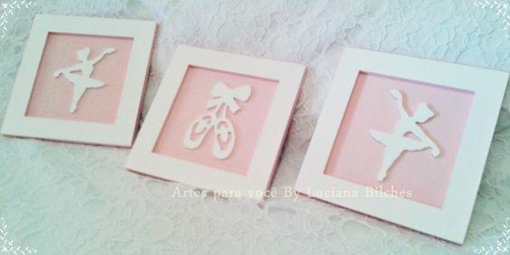 Lindo trio de quadros pensado para deixar o quarto de sua bebê ainda mais bonito. <br>Quadro e aplique em mdf pintado de rosa e branco. <br>medida de cada quadro 18x18 <br>O preço é para o trio. <br>Podem ser feitos noutras cores e tamanho <br>Para mais detalhe nos consulte.