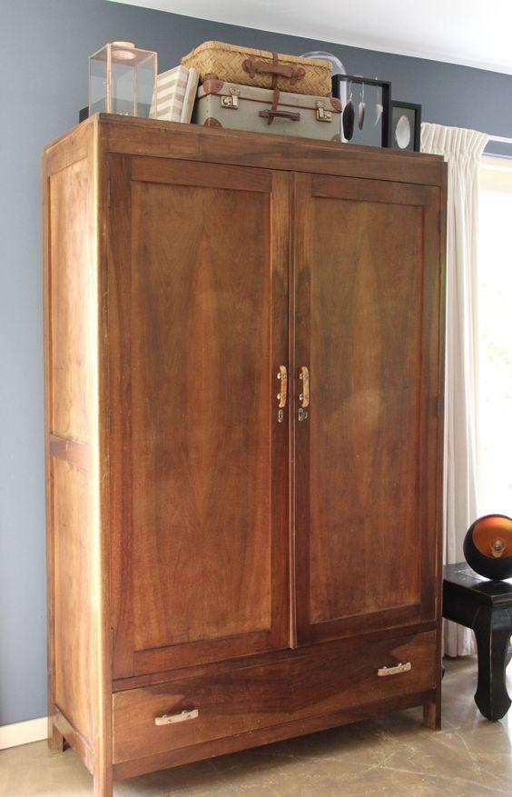houten kledingkast vintage inndoors meubelen en. Black Bedroom Furniture Sets. Home Design Ideas