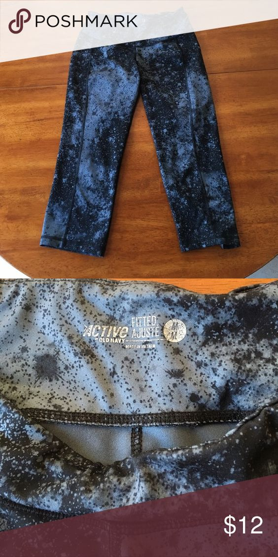 Galaxy printed workout Capris. Black and grey galaxy printed Capri length workout pants. Tummy control band that keeps everything tucked in! Very comfy. Old Navy Pants Capris