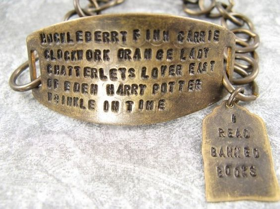 I read banned books bracelet. Banning books should be banned.
