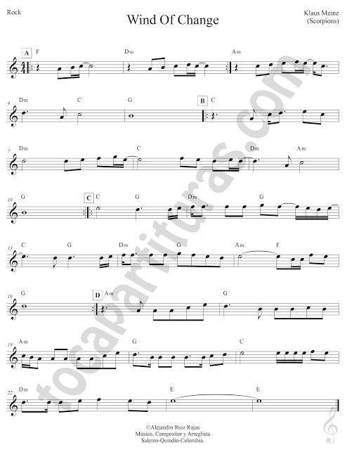 Wind Of Change Pop Rock De Klaus Meine De Scorpions Partitura Fácil Con Acordes Wind Of Change Sheet Music With Chords Partituras Bon Jovi Fondo Profundo
