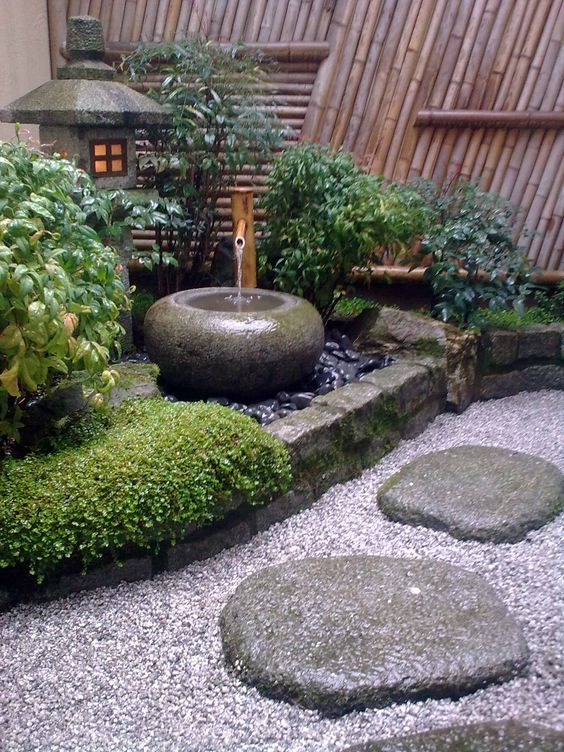 Outdoor fountain with running water