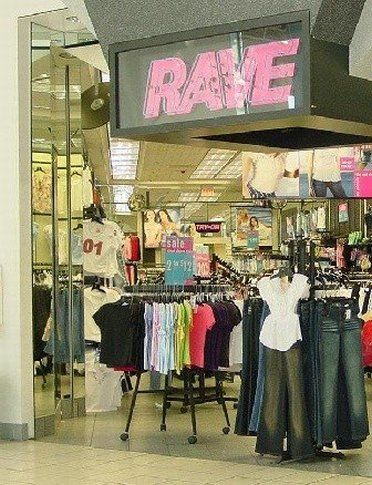 RAVE Clothing store: How come nobody else remembers this place? It took me a while to find a picture of it on the web! I guess it used to be called Rave for Real, and then changed to simply Rave. My mom loved this store, and I used to shop at RAVE kids all the time! :)<3