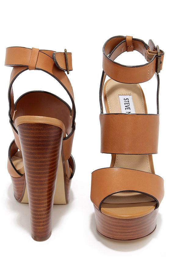 Steve Madden Dezzzy Tan Leather Platform High Heels at Lulus.com!