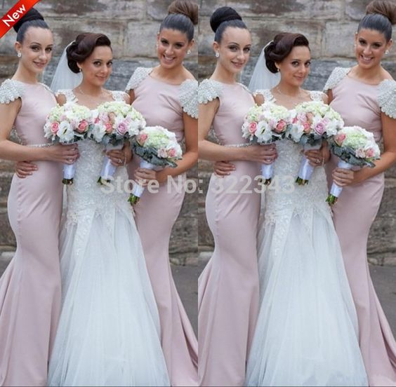 Party Gown Long Chiffon Mermaid Beading Cap Sleeve Sash Bateau Sweep Train Bridesmaid Dress Prom Dresses