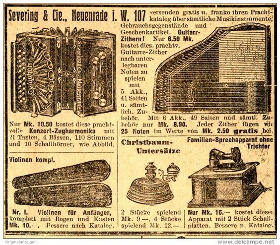 Original-Werbung/ Anzeige 1912 - MUSIKINSTRUMENTE / SEVERING - NEUENRADE - ca. 80 x 75 mm