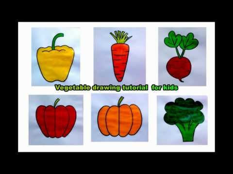 How To Draw Easy Vegetables Drawing For Kids In 2020 Drawing For Kids Vegetable Drawing Drawing Tutorials For Kids