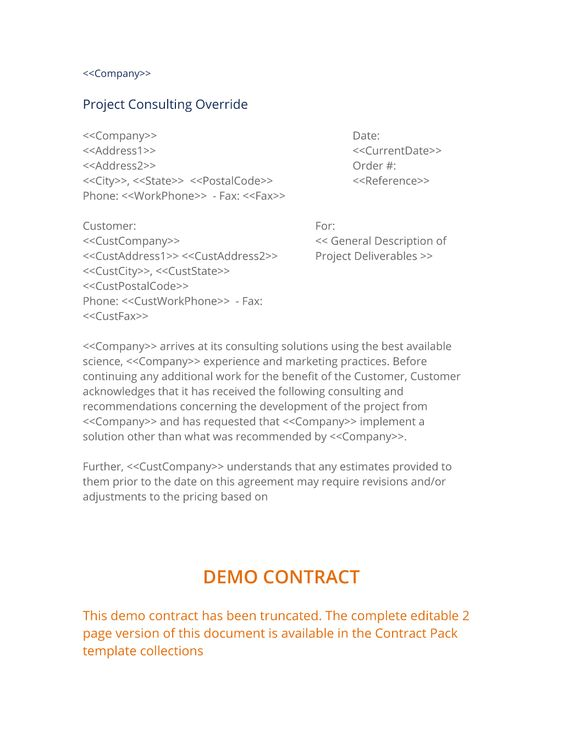 Project Consulting Override  This Form Is Used With A Customer