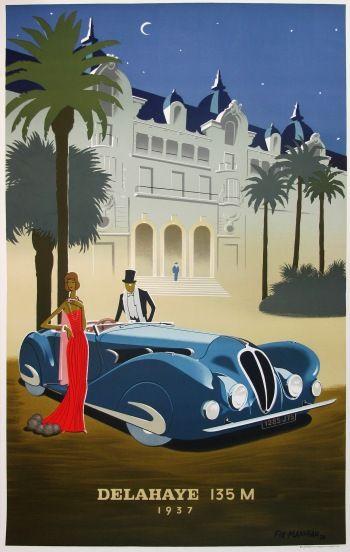 Delahaye 135m art deco poster you need wheels - Affiche art deco ...