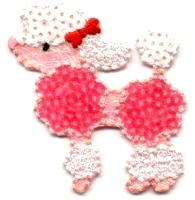 POODLE PINK/WHITE EMBROIDERED/SEQUIN IRON ON APPLIQUE
