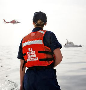 Each year, Coast Guard auxiliarists volunteer more than two million hours benefiting boaters and their families.  U.S. Coast Guard photo.