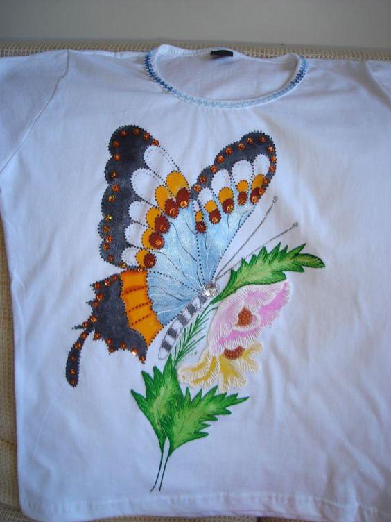 Babylook com borboleta - pintura