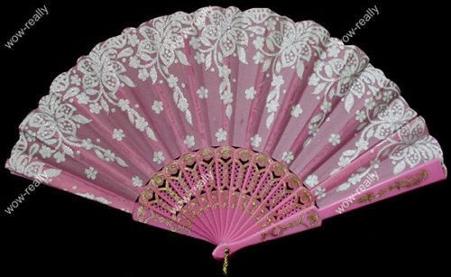 New Spanish Style Pink Dance Party Wedding Lace Folding Hand Held Flower Fan