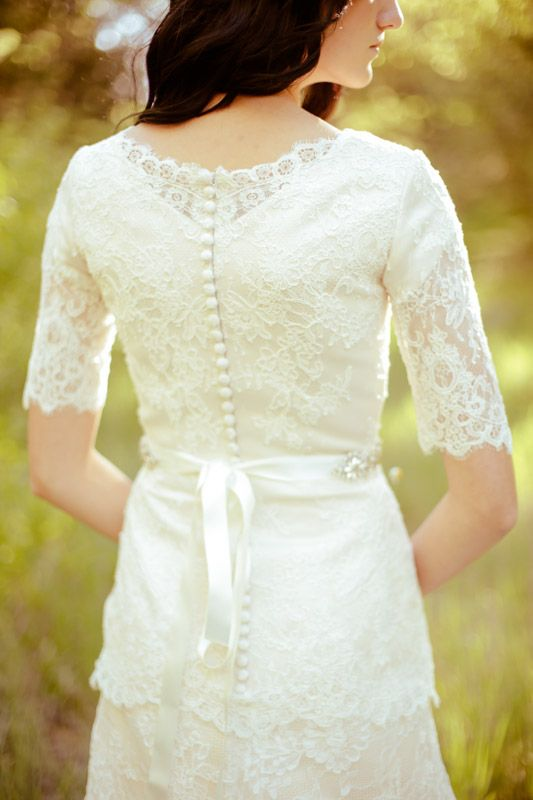 Lace sleeves modest wedding dress lds apostolic for Lds wedding dresses lace