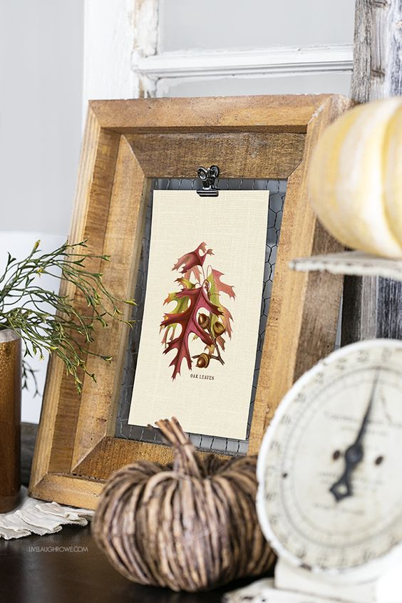 Love this fall vignette and the festive oak acorns and leaves printable. livelaughrowe.com: