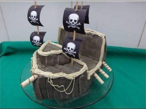 Decorando bolo em formato de navio - YouTube