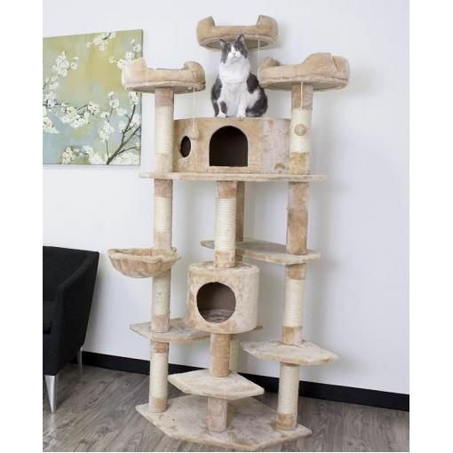 Luxury Large Cat Tower With Two Condos In Beige Large Cat Tree Extra Large Cat Trees Diy Cat Tree