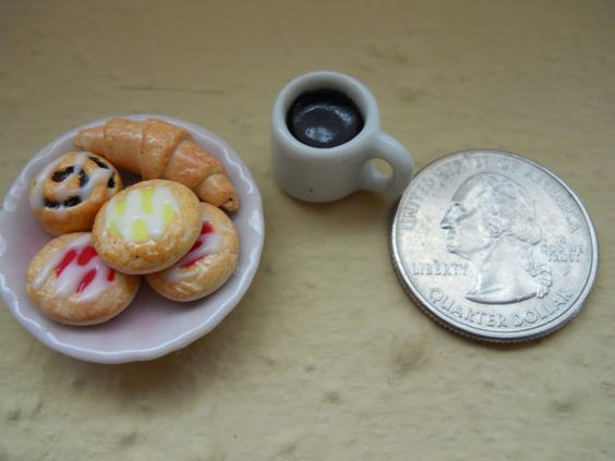 Miniature French Danish Pastries and Cup of by ItsATinyWorld
