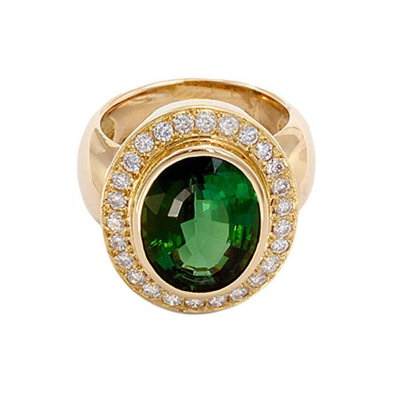 Stunning Green Tourmaline Diamond Gold Ring | From a unique collection of vintage cocktail rings at https://www.1stdibs.com/jewelry/rings/cocktail-rings/