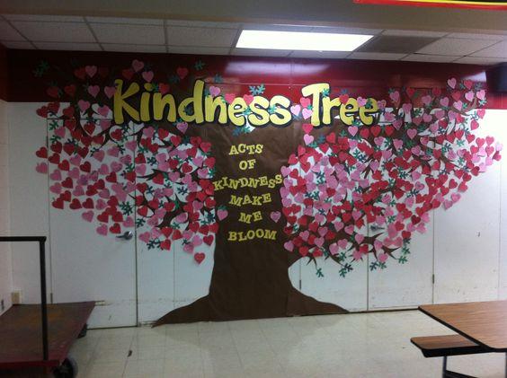 Un beau tableau pour l'année longue dans la classe ou le couloir. Kindness tree to display random acts of kindness (picture only) Instead of hearts, use leaves for spring.