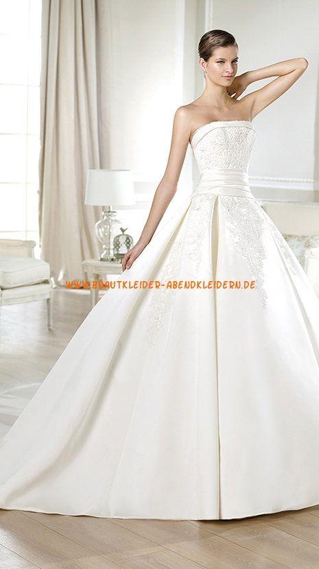 Preiswerte Brautkleider 2014 aus Satin mit Applikation