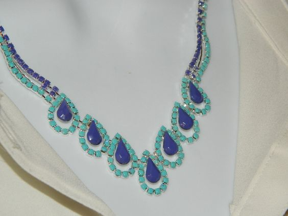 Painted rhinestone necklace Dark Purple and light mint blue. $28,00, via Etsy.