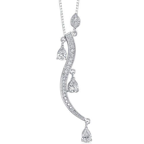 Starlet Radiance: Sterling Silver Rhodium Finish Designer Inspired Dangle Style Pendant Necklace with Pear shape Cubic Zirconia Peora. $39.99. Save 67%!