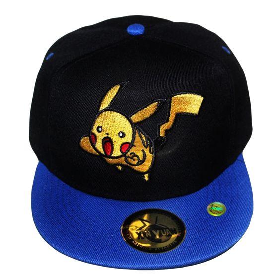 Men Women Cute Pokemon Go Pikachu Snapback Bill Cap Black