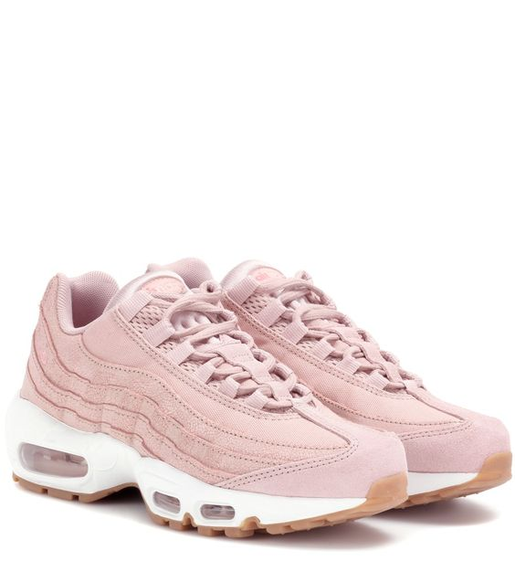 Nike - Air Max 95 leather sneakers - Sneaker lovers will recognise Nike's iconic Air Max 95 design, now reintroduced and refreshed with pink panelled leather detailing and a contoured insole for comfortable wear. The white Air® sole, along with an embroidered swoop, lends this look recognisable style perfect for pairing with dressy looks for an urban finish. seen @ www.mytheresa.com