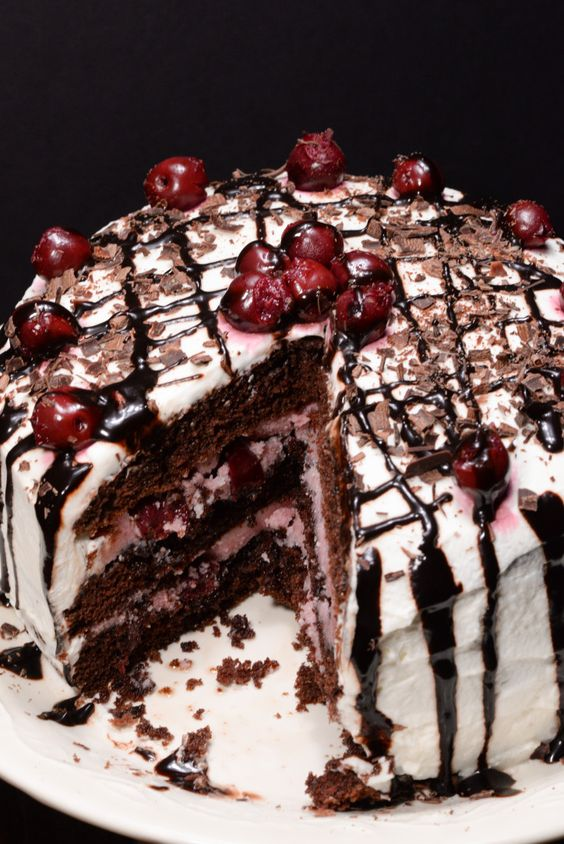 """German black forest cake traditionally is an """"adult"""" cake made with a cherry liquor called kirsch that comes from the Black Forest region of Germany. In North America this cake is often found made with a sweet cherry pie filling which is not anything like the real thing. I was ..."""